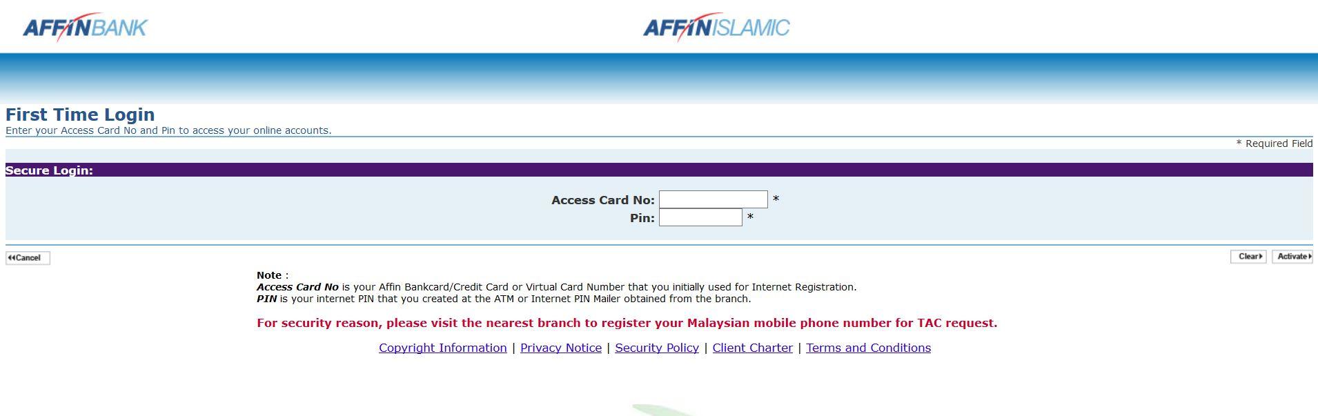 Login Internet Banking Affin Bank