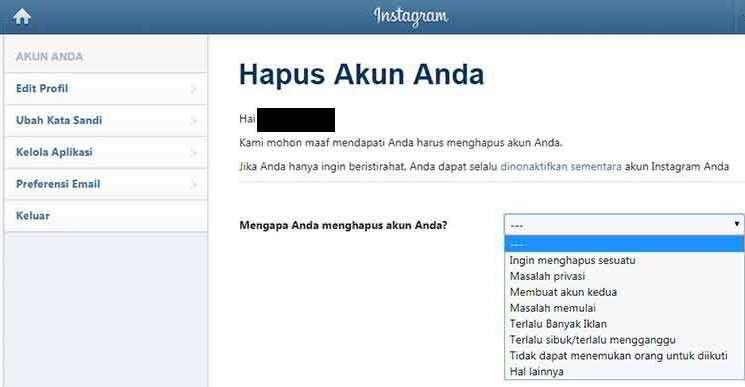 Cara Delete Akaun Instagram Kekal