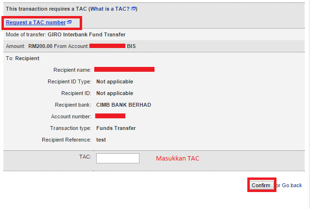 Request TAC Maybank