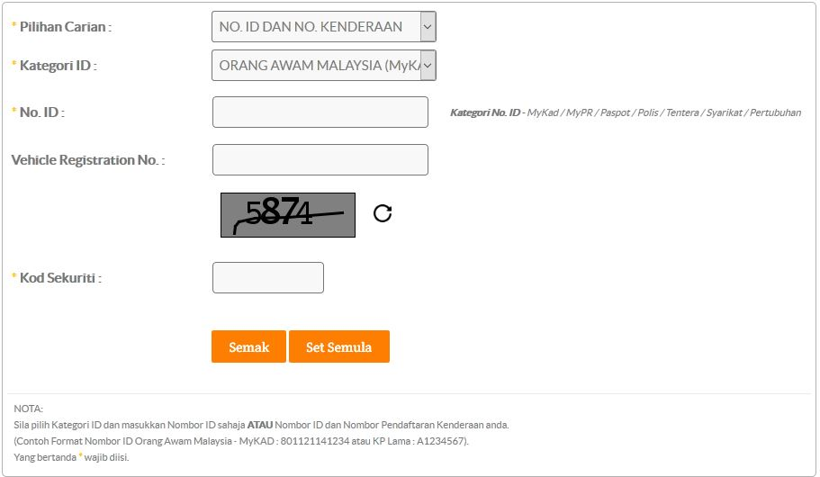 Check Saman JPJ AES
