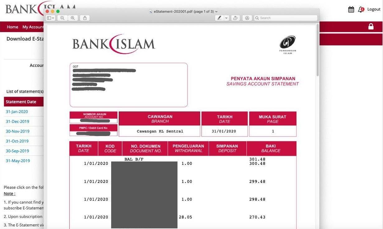 Cara Dapatkan Penyata Akaun Bank Islam